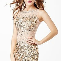 Short Beaded Sheer Back Dress JVN31860 from JVN by Jovani
