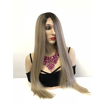 Ash Blond Ombre' Balayage Swiss Lace Front Wig | Volume Layered Hair | Multi Parting | Bree