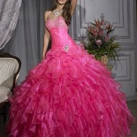 Perfect Ball Gown Floor Length Sweatheart Hot Pink Pd1124 Beads And Sequins Prom Dress Sale [dressnl3898] - $165.00 : dressnl.com, Prom Dresses Holland online shop
