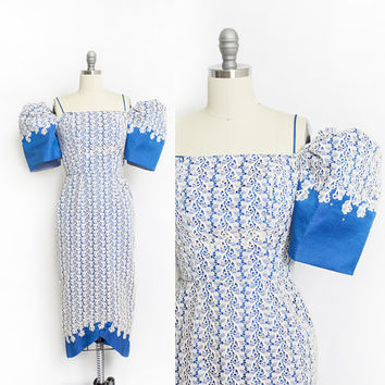 Vintage 1950s Dress - Lace Rhinestone Electric Blue Wiggle Cocktail Filipino Designer 50s - XS Extra Small