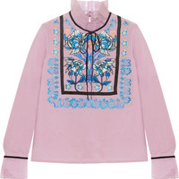 Temperley London - Imperium embroidered silk-organza turtleneck blouse