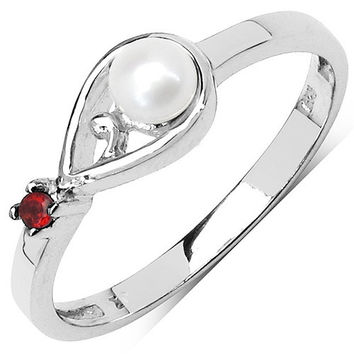 0.38 Carat Genuine Garnet & Pearl .925 Sterling Silver Ring