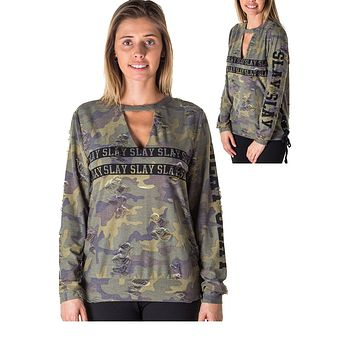 Ladies fashion choker lace up distress sweatshirt top with applique