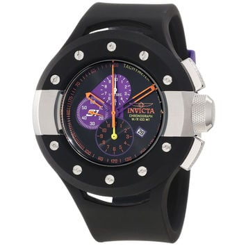 Invicta 11136 Men's S1 Rally Puppy Purple Accent Black Dial Black Rubber Strap Stainless Steel Chronograph Watch
