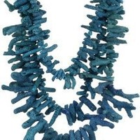 """Devon Leigh """"Statement Necklaces"""" Gold-Filled Blue Coral Multi-Tier Necklace, 26"""""""
