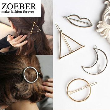 ZOEBER Moon Barrette Hair Clip Hair Accessories Round Popular Leaf triangle Shape Hairpins Women Lady Girls Scissors female