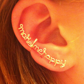 Make Me Happy Ear cuff by Karmadia on Etsy