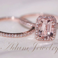 Two-Ring Set Discount!! Fancy Halo Emerald Cut Morganite Ring 14K Rose Gold Pave Diamonds Wedding Ring/ Engagement Ring /Anniversary Ring