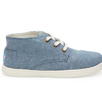 TOMS Light Navy Chambray Youth Paseo Mids Blue