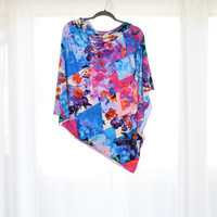 Bright Floral Poncho/ Nursing Poncho Cover/ Nursing Shawl/ One Shoulder top / Boho Poncho /  New Mom Gift / Nicole Miller Designer Fabric