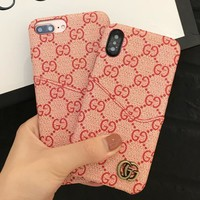 GUCCI New fashion more letter leather case iphone protective cover phone case Pink