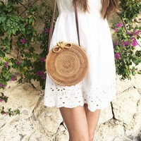 2018 INS Lady Handbag Leather Crossbody Shoulder Bag Summer Beach Travel Circle Straw Bag Handmade Women Rattan Bag 2 size