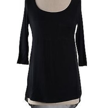 Sexy Round Neck 3/4 Sleeve Asymmetrical Hem Tunic with Top Mesh Back