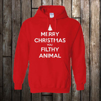 merry christmas you filthy animal favorite design hoodie