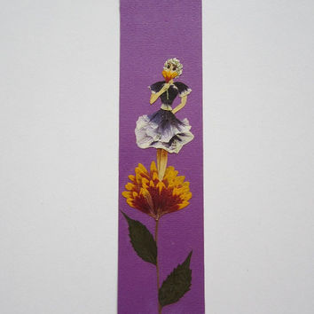 "Handmade unique bookmark ""Intoxicating scent of nature"" - Decorated with dried pressed flowers and herbs - Original art collage."