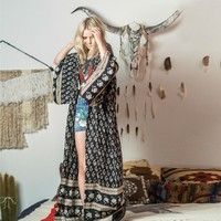 BOHEMIAN ROYALE MAXI KIMONO CHARCOAL | BOHO | SPELL DESIGNS - Hunters and Gatherers