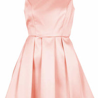 Duchess Satin Bow Back Prom Dress - Pink