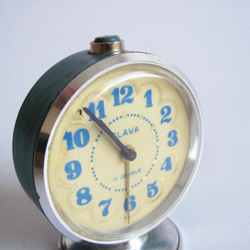 Vintage alarm clock, Blue desk clock #vintage#blue#alarm#clock#slava