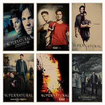 Supernatural SPN movie retro Poster Retro Kraft Paper Bar Cafe Home Decor Painting Wall Sticker