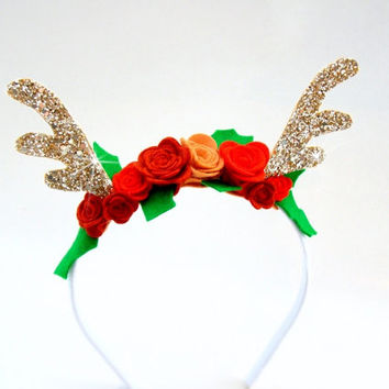 Reindeer Antlers Rudolph the Red Nosed Reindeer Headband Christmas Holidays Rudolph Antlers Sparkly Headband Golden Antlers Headband