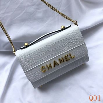 HCXX 19Aug 078 3205 Fashion Casual Flap Bag Chain Clutche Bag Cowhide Shoulder Bag 23-14cm White