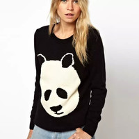 Panda Pattern Long Sleeve Knitted Black Sweater