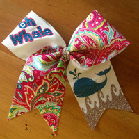 Paisley print bow , oh whale bow , cheer bow , cheerbow , cheerleader , Bella bows , cute cheer bow