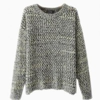Gray Fluffy Multi Color Knit Sweater