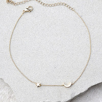 Moonscapes Gold Choker Necklace