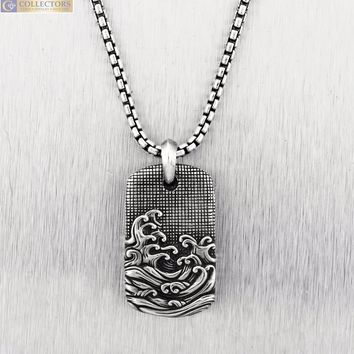 "Men's David Yurman 925 Sterling Silver Waves Tag 22.00"" Pendant Necklace"