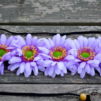 Purple Flower Headband Hippie Halo Floral Headwrap Bohemian Purple Headpiece Festival Crown Halo Bonnaroo Counterpoint EDC EDM Floral Halo