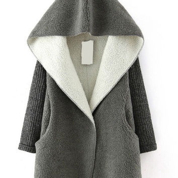 Grey Hooded  Long Sleeve Loose Coat