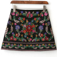 Black Floral Embroidered Skirt