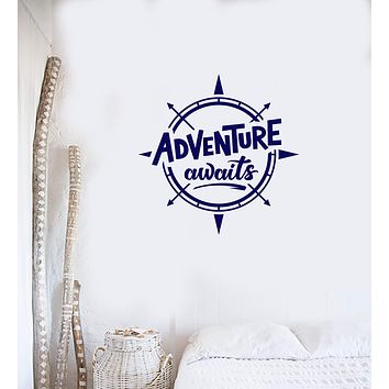 Vinyl Wall Decal Adventure Awaits Compass Quote Inspirational Art Home Interior Stickers Mural (ig5865)