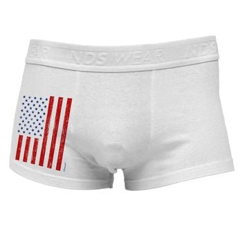 Red and Blue Stamp Style American Flag - Distressed Side Printed Mens Trunk Underwear by TooLoud