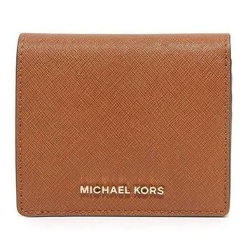 MICHAEL KORS JET SET TRAVEL CARRYALL CARD CASE LUGGAGE LEATHER WALLET NWT
