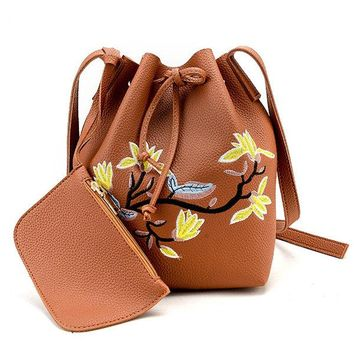 Women Embroidery Floral Bucket Bag PU Leather Crossbody Bag
