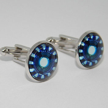 Iron man Energy cufflinks, superhero cufflinks jewelry, Iron man simbol, Iron man jewelry, arc reactor cufflinks jewelry, wedding cuff links