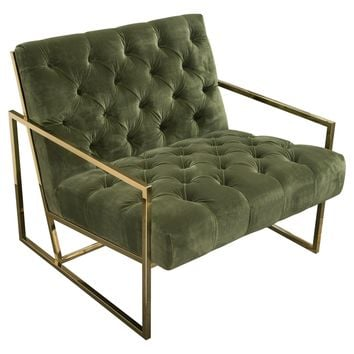 Luxe Accent Chair in Olive Green Tufted Velvet Fabric with Polished Gold Stainless Steel Frame