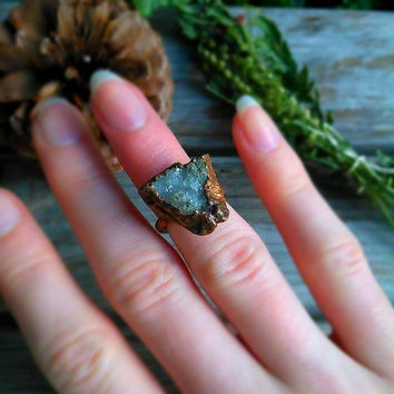 Raw Geode Rough Copper Ring | Electroformed Midi Ring | Patina Copper Ring | Rustic Crystal Jewelry