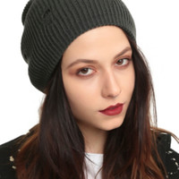 Ripped Grey Reversible Slouch Beanie