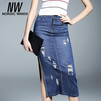 Nordic winds denim skirts 2016 women fashion hole pencil jeans skirt