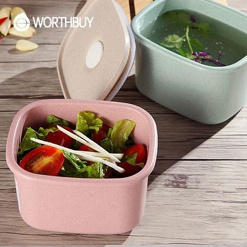 WORTHBUY Japanese Wheat Straw Microwave Lunch Boxs Fruits Food Container Storage For Kids Portable Picnic Set Plastic Bento Box