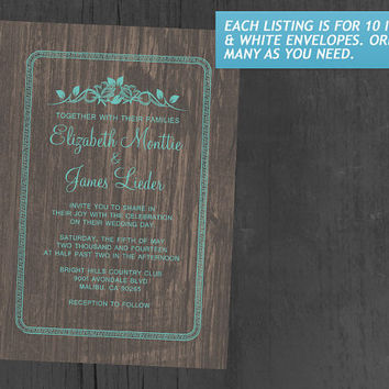 Aqua Vintage Barn Wood Wedding Invitations | Invites | Invitation Cards