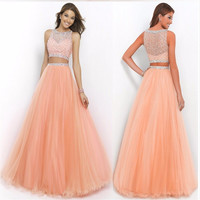 Hot Sell Long Burgundy Prom Dresses 2016 Sexy Fashion Formal Long Orange Party Two Piece Prom Dress Gown Evening Size 2-26W
