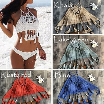 Crochet Bikini 2019 Swimwear Women Top Tassel Beachwear Set Handmade Cropped Swimsuits Sexy High Neck Knitted Biquinis Femme