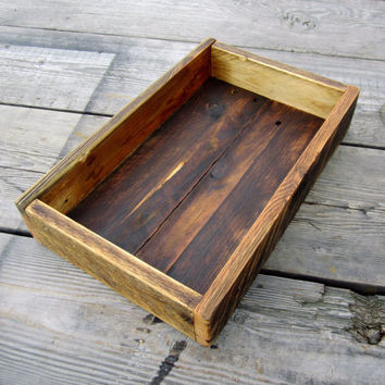 Rustic Coffee Table Tray Made From Reclaimed Wood Palet Board Country Home Decor Trays