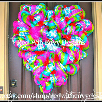 Valentine's Day Wreath, Wreath, Deco Mesh Wreath, Valentine's Day, Heart Wreath, Valentine's Day Decoration, Valentine's Day Decor