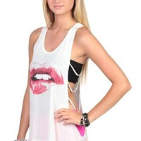 deep armhole tank with ladder back and rhinestone lip screen