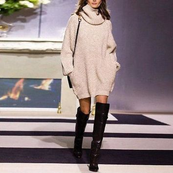 ONETOW Turtle Neck Sweater Dress